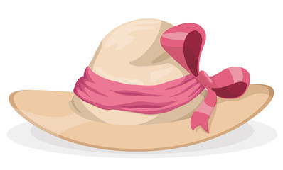 Beauty Lady Hat with Pink Ribbon and Bow, Vector Illustration