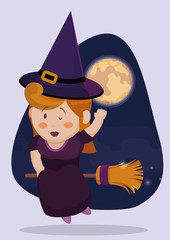 Cute Witch Flying in her Broom in the Night, Vector Illustration