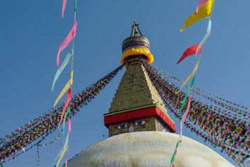 Stupa in Boudhanath Stupa (Bodnath Stupa) temple in Kathmandu, Nepal. The largest stupa in Nepal.