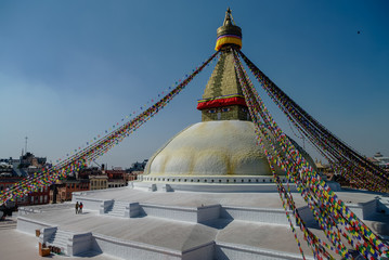 Stupa in Boudhanath Stupa (Bodnath Stupa) temple in Kathmandu, Nepal. The largest stupa in Nepal.