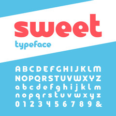 Bold font. Vector alphabet with letters and numbers.