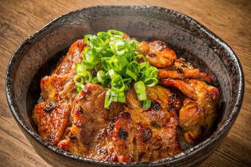 ブランド豚肉で作る豚丼 Delicious food of pork bowl Japan