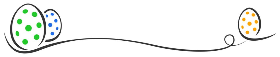 Ostereier Punkte gruen blau orange Schwung