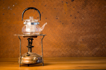 Still life art photography concept with oil lantern on old  stee