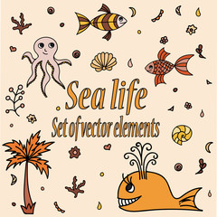 Set of sea animals and elements. Cute aquatic creatures. Hand drawn illustration with shells, whale, palm tree, fishes, octopus and coral. Vector cartoon icons. Marine life.