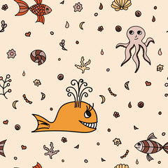 Underwater wildlife, cartoon animals. Vector illustration of happy fun sea creatures. Seamless pattern. Orange background. Texture with marine life.