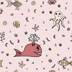 Underwater wildlife, cartoon animals. Vector illustration of happy fun sea creatures. Seamless pattern. Pink background. Texture with marine life.