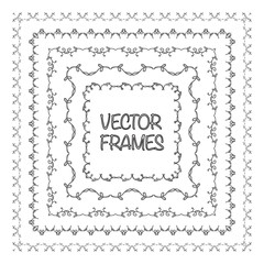 Elegant frame templates. Borders design. Square frames set. Vintage decorative elements. Vector illustration. Page decoration.