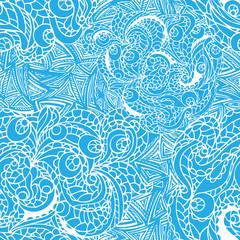 Abstract vector swirl ethnic seamless pattern