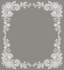 Card. White Lace Frame. Floral Pattern. Gray Background.