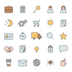 Outline business gray icons vector set. Modern minimalistic style. Part two.