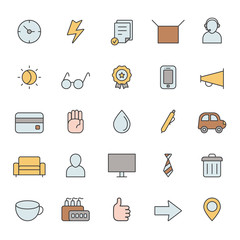Outline business multicolored icons vector set. Modern minimalistic style. Part one.