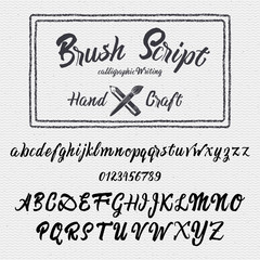 Hand drawn font handwriting brush