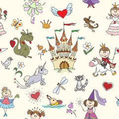 Little princess seamless pattern. Princess girl, background kid, princess crown, fairy tale princess. Vector illustration