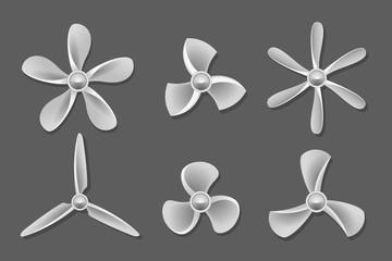 Propeller icons vector. Propeller air, ventilator propeller, fan and blade, equipment propeller blower illustration