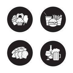 Food and drinks black icons set