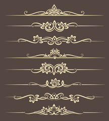 Wall Mural - Calligraphic design elements, page dividers with thai ornament. Divider ornament page, ornate vector illustration