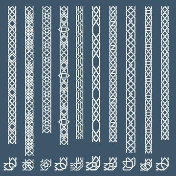 Seamless islamic ornamental borders. Seamless pattern border, arabic border ornament, frame border. Vector illustration