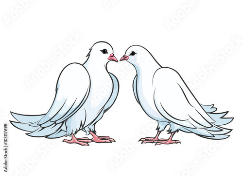 """Kissing Couple Of Doves. Dove Couple, Love Dove Bird"