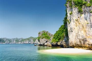 Wild beach on uninhabited tropical island, the Ha Long Bay