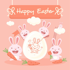 Cute easter bunnies and egg