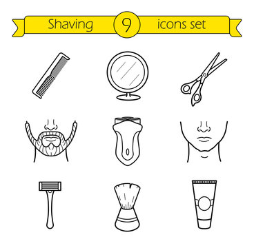 Shaving linear icons set