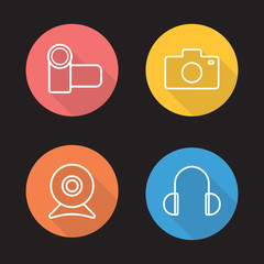 Electronics devices flat linear icons set