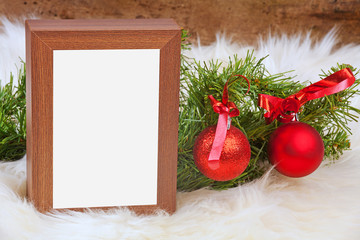 Empty picture, photo frame on table. Christmas.