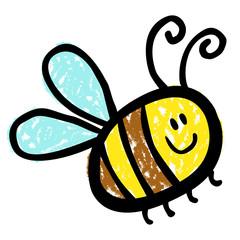 Eine bunte Biene mit lächelndem Gesicht / Kreidezeichnung, Vektor, freigestellt