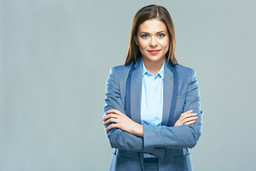 Smiling business woman portrait. Young female model with long h