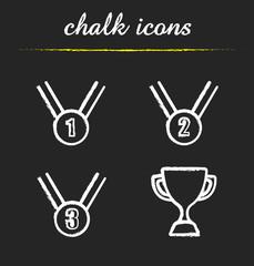 Award chalk icons set