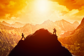 Two men running race to the top of the mountain. Competition, rivals, challenge