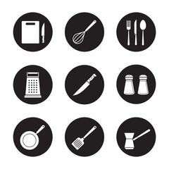 Kitchenware black icons set