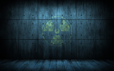 industrial grunge background with radiation symbol, dark room with walls of concrete and wooden floor