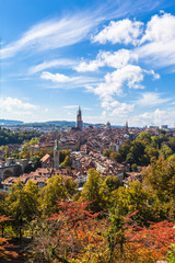 Foto op Aluminium Summer view of Berne old town from mountain top
