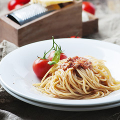 Italian pasta bolognese with meat and tomato