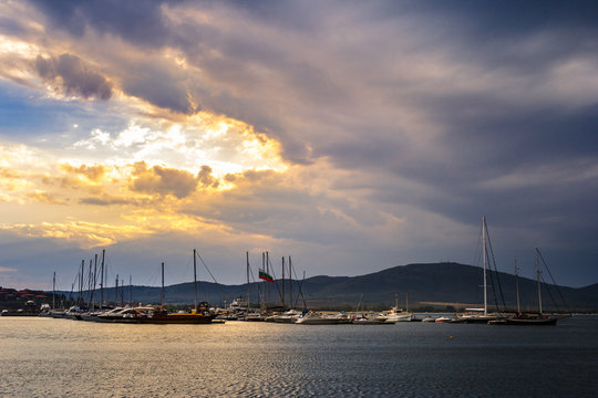 boats in port of Sozopol  at sunset