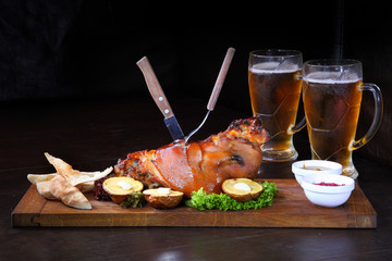 Pork knuckle baked in the oven. Shank beer - Stock Image