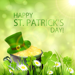 Sunny Patricks Day background and gold leprechauns