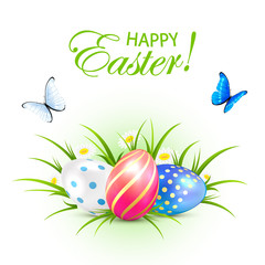 Easter eggs and butterflies on white background