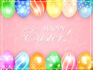 Pink Easter background with colored eggs