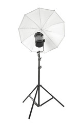 Studio flash with white umbrella and stand on white, clipping path