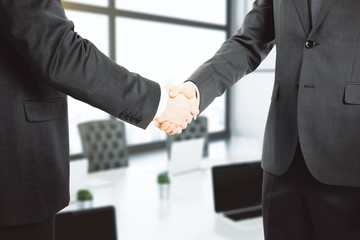 Handshake of two businessmen in office, closeup