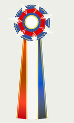 Red White and Blue Award Rosette Ribon