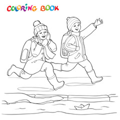 Coloring book or page. Two joyful boy running along the puddles of paper boats - vector illustration.
