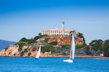 Alcatraz prison and yachts in San Francisco bay