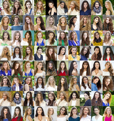 Collage of beautiful young women between eighteen and thirty yea
