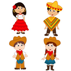 set of isolated children of Mexican and cowboy nationalities - vector illustration, eps