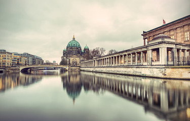 Berlin Cathedral (Berliner Dom) and Museum Island (Museumsinsel) reflected in Spree River, Berlin, Germany, Europe, vintage filtered style