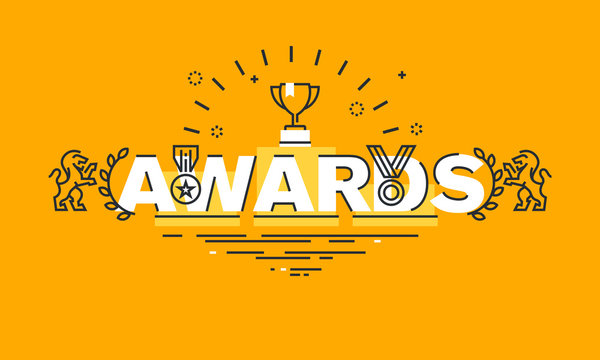 Thin line flat design banner for awards web page, information about awards for the quality of products and services, humanitarian work, success in business. Vector illustration concept.